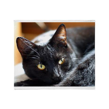 Sleek Black Cat Throw Blanket