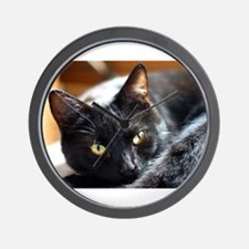 Sleek Black Cat Wall Clock