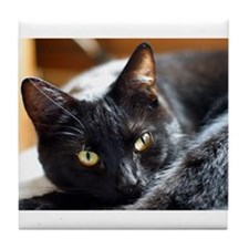 Sleek Black Cat Tile Coaster