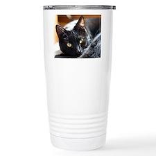 Sleek Black Cat Travel Mug