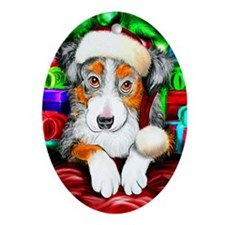 Aussie Santa Pup Oval Ornament