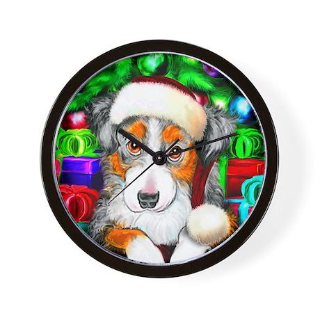 Aussie Santa Pup Wall Clock