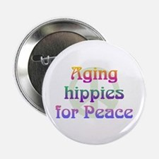 "Aging Hippies for Peace 2.25"" Button (10 pack)"