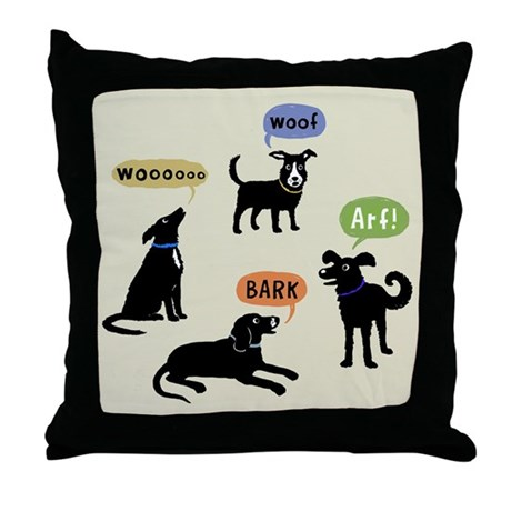 Woof Arf Bark Throw Pillow