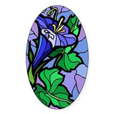 Stained Glass Morning Glory Oval Decal