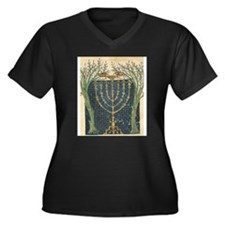 Cervera Menorah Women's Plus Size V-Neck Dark T-Sh
