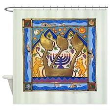 Hebrew Blue Shin Shower Curtain