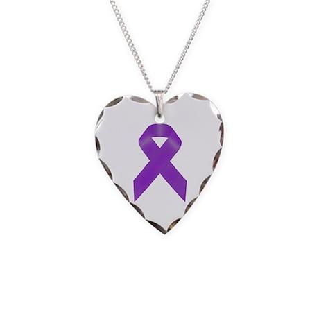 Awareness Ribbon Necklace Heart Charm