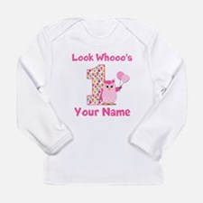 1st Birthday Girl Owl Long Sleeve Infant T-Shirt