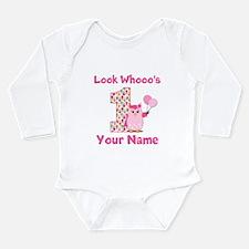 1st Birthday Girl Owl Long Sleeve Infant Bodysuit