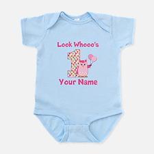 1st Birthday Girl Owl Infant Bodysuit