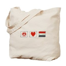 Peace, Love and Iraq Tote Bag