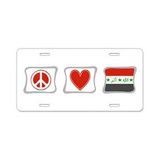 Peace, Love and Iraq Aluminum License Plate