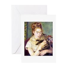 Lady w/ Cat, Renoir Greeting Card