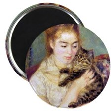 Lady w/ Cat, Renoir Magnet