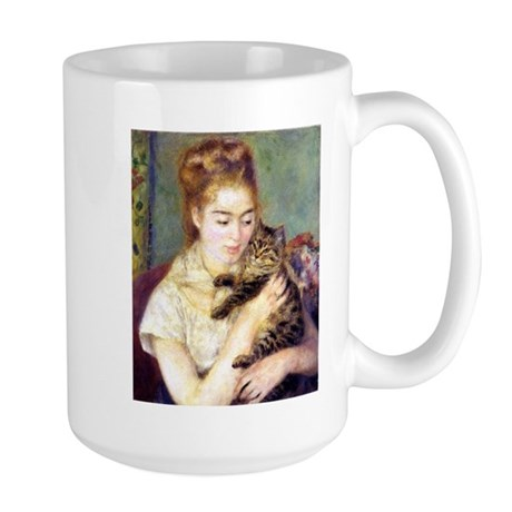 Lady w/ Cat, Renoir Large Mug
