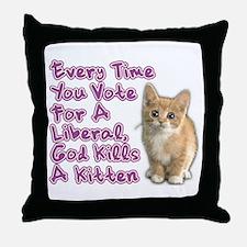 God Kills A Kitten Throw Pillow