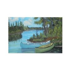 Canoe Painting Rectangle Magnet