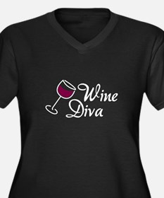 Wine Diva Women's Plus Size V-Neck Dark T-Shirt