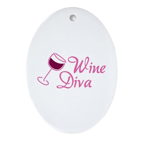 Wine Diva Ornament (Oval)