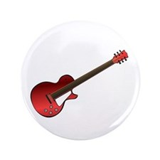 "Red Electric Guitar 3.5"" Button"
