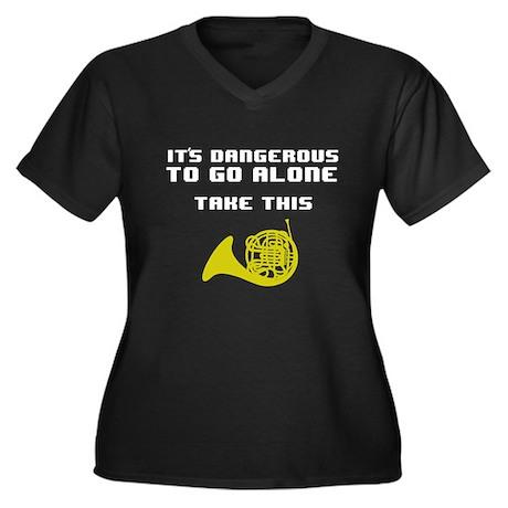 Take the Horn Women's Plus Size V-Neck Dark T-Shir