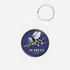 USN Seabees Official Beveled Aluminum Photo Keycha