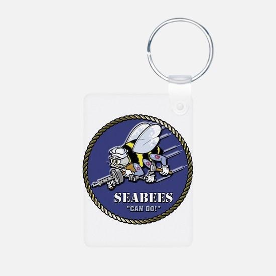 USN Seabees Official Beveled Aluminum Photo Keycha