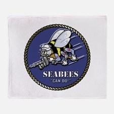 USN Seabees Official Beveled Throw Blanket