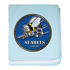 USN Seabees Official Beveled baby blanket