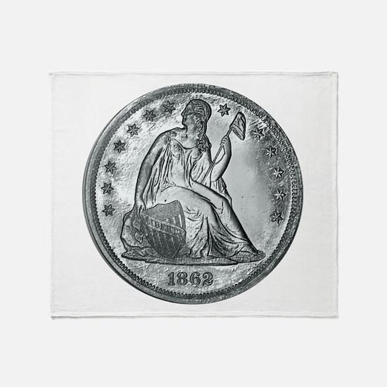 1862 Silver Coin Throw Blanket