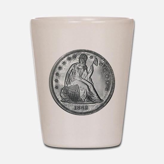 1862 Silver Coin Shot Glass