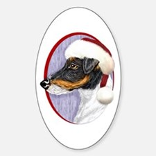 Fox Terrier Santa Oval Decal