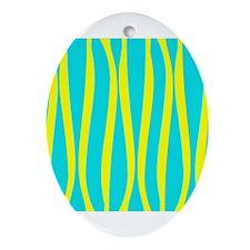 Aqua Yellow Waves Ornament (Oval)