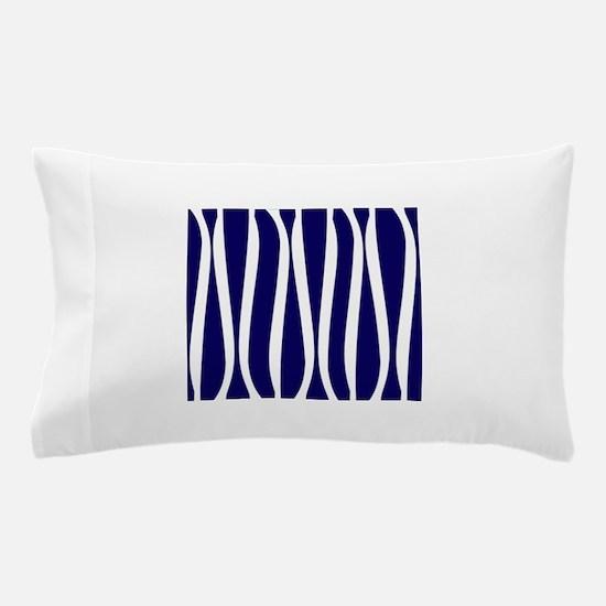 Navy White Waves Pillow Case