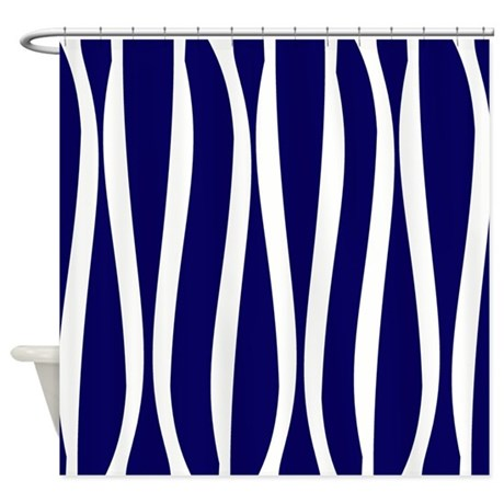 Navy White Waves Shower Curtain By Printedlittletreasures