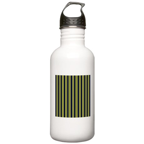 Navy Yellow Stripes Stainless Water Bottle 1.0L