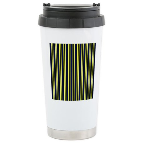 Navy Yellow Stripes Stainless Steel Travel Mug