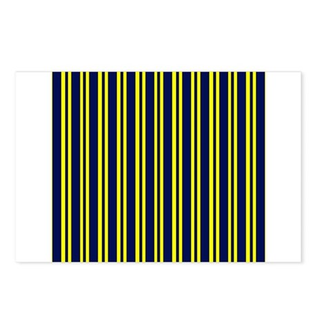 Navy Yellow Stripes Postcards (Package of 8)
