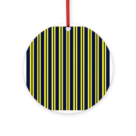 Navy Yellow Stripes Ornament (Round)