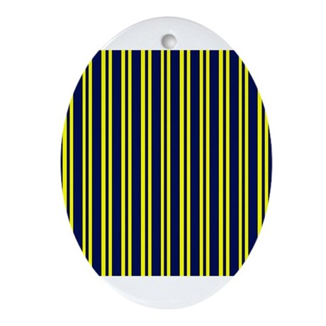 Navy Yellow Stripes Ornament (Oval)