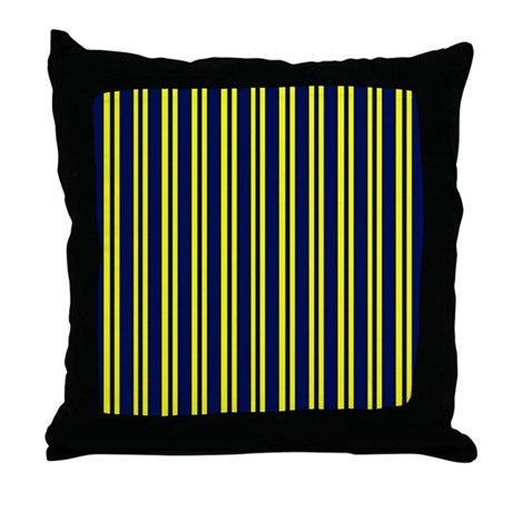 Navy Yellow Stripes Throw Pillow