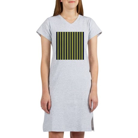 Navy Yellow Stripes Women's Nightshirt