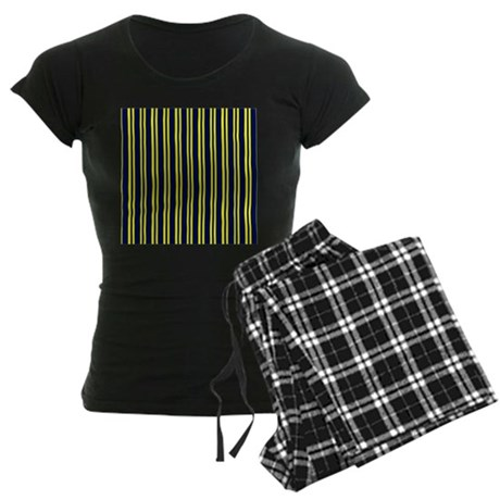 Navy Yellow Stripes Women's Dark Pajamas