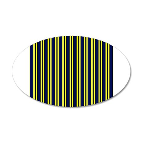 Navy Yellow Stripes 38.5 x 24.5 Oval Wall Peel