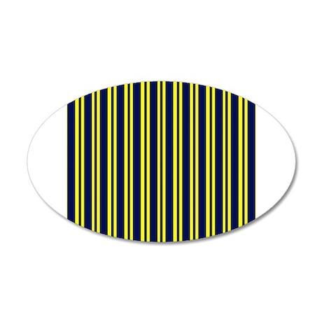 Navy Yellow Stripes 22x14 Oval Wall Peel