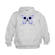 Blue Sugar Skull Butterfly Hoodie