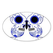 Blue Sugar Skull Butterfly Decal