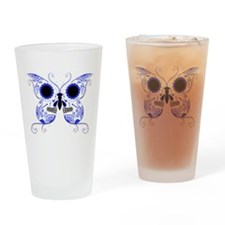 Blue Sugar Skull Butterfly Drinking Glass