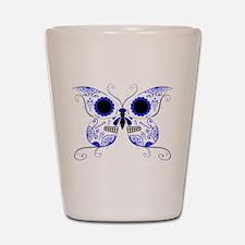 Blue Sugar Skull Butterfly Shot Glass
